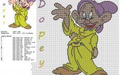 El enanito Tontin Mudito de Disney Blancanieves y los siete enanitos patron punto de cruz