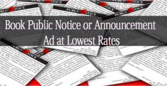 Book Public Notice or Announcement ad at lowest rates via releaseMyAd