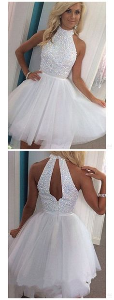 Sleeveless High Neck Homecoming Dress,Short White Appliqued Beaded Tulle Prom Gowns HCD51Short Prom Dresses,Homecoming Dresses,Prom Gowns,Party Dresses,Graduation Dresses,Short Prom Dresses,Gowns Prom,Cheap Prom Gowns on Line