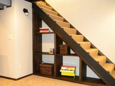 simple under-stair shelving