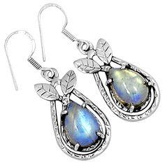 Rainbow Moonstone 925 Sterling Silver Earrings Jewelry 3255E - JJDesignerJewelry