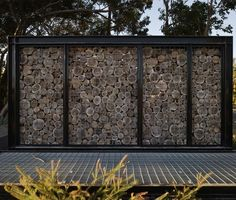 Log Gabion at Lakeway Redevelopment in Perth, Australia by HASSELL Architects