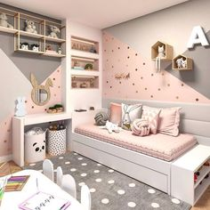 Hello everyone how gorgeous is this bedroom! I love the colour combination on the wall and I am slightly tempted to do this same with my daughters bedroom but am not sure if my diy skills are strong enough  to paint her wall #watchthisspace    #diy #diyhomedecor #blushandgrey #homedecor #daughter #bedroomdecor #bedroomgoals #inspo #nurserydecor #nursery #instainspo  #littlegirls #girlsbedroom #girlsbedroomdecor #kidsbedroom #kidsbedroomdecor #kids #styling #bedroomstyling #bedroomideas…