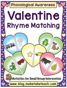 Fun Valentine's Day activity for learning rhyme Rhyming Kindergarten, Rhyming Activities, Teaching Phonics, Valentines Day Activities, Language Activities, Literacy Stations, Literacy Skills, Early Literacy, Literacy Centers