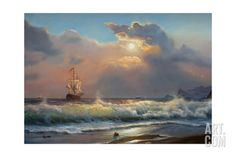 Oil Painting On Canvas , Sailboat Against A Background Of Sea Giclee Print by Lilun at Art.com