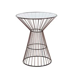 This round side table has a modern look with its metal armed frame, antique bronze finish and glass top. It is perfect for lamps or ornaments and while not overly flashy, it can certainly be considered a statement piece for anyone's home