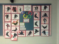 "Olympic Art! Download and print some silhouette sports figures. Photocopy some templates. Have students choose a figure, cut it out and trace onto black construction paper. Cut the figure out of construction paper. On white paper, design anything having to do with your country (ex. ""Go Canada Go"") and finally, paste the black silhouette over the white paper. Mount on another colour."