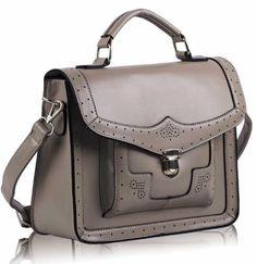 Ladies Vintage Nude Satchel Bag Pushlock Brogue Style Shoulder Handbag KCMODE Add it to your wishlist at yourwishfromme.com