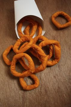 Felt, Play Food: Onion Rings. Handmade by Fairview Place.