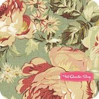 Antique Rose Autumn Dusty Aqua Large Bouquet Yardage SKU# 30823-70
