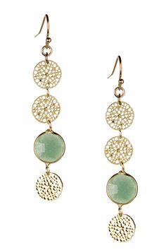 Green Aventurine Daisy Dangle Earrings