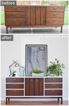 Inspiring Furniture Restoration Projects: From Blah to Rad At all-of-a-sudden-modern credenza. (Diy Furniture Restoration) Inspiring Furniture Restoration Projects: From Blah to Rad At all-of-a-sudden-modern credenza. Diy Furniture Restoration, Refurbished Furniture, Repurposed Furniture, Repurposed Items, Handmade Furniture, Diy Furniture Upcycle, Painted Furniture, Decoupage Furniture, Furniture Projects