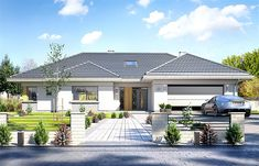 Willa parterowa on Behance My House Plans, House Layout Plans, Modern House Plans, House Layouts, Modern Bungalow Exterior, Modern Bungalow House Design, Morden House, House Outside Design, Beautiful House Plans