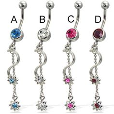 Belly button ring with small jeweled stars on wine and chain Cute Belly Rings, Dangle Belly Rings, Belly Button Rings, Navel Piercing, Body Piercing, Belly Piercings, Jewel Star, Gold Body Jewellery, Wholesale Body Jewelry