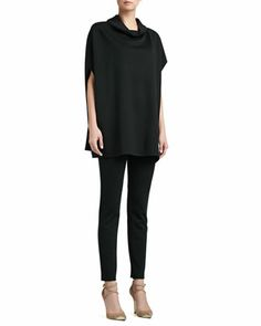 Draped Tunic, Milano Knit Contour Tank & Alexa Slim Ankle Pants by St. John Collection at Neiman Marcus.