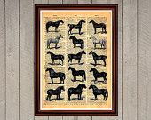 Horses animal nature collage print Rustic decor Cabin Vintage Retro poster Dictionary page Home interior Wall 0008