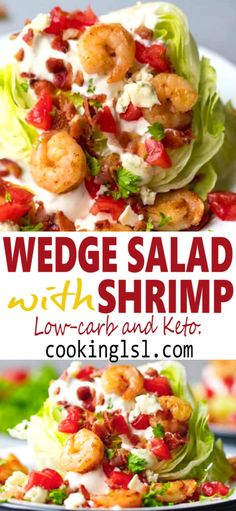 Gulf Shrimp Iceberg Lettuce Wedge Salad – this very easy to make this salad is packed with wonderful flavors. Crisp lettuce and creamy homemade blue cheese salad dressing, topped with tender, great tasting US-gulf shrimp. Low-carb and Keto Friendly. Wedge Salad Recipes, Lettuce Salad Recipes, Shrimp Salad Recipes, Easy Pasta Salad Recipe, Seafood Salad, Healthy Salad Recipes, Shrimp Salads, Food Shrimp, Lettuce Wedge Salad