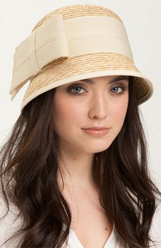 Cloche straw hat with wide ribbon
