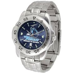 """UC San Diego Toreros NCAA AnoChrome """"Sport"""" Mens Watch (Metal Band) by SunTime. $63.00. Rotation Bezel/Timer. Scratch Resistant Face. Calendar Date Function. This handsome, eye-catching watch comes with a stainless steel link bracelet. A date calendar function plus a rotating bezel/timer circles the scratch resistant crystal. Sport the bold, colorful, high quality logo with pride. The AnoChrome dial option increases the visual impact of any watch with a stunning radi..."""
