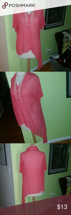 Asymmetrical Salmon Colored Top - Size 22 Flirty, Feminine and Chic asymmetric semi sheer top...hi on the right side and low on the left side. This top has so much style potential. This is a size 22 that measures BUST: 54 inches. This item is in EXCELLENT condition. Please be sure to check out my Poshmark Closet. Erica Brooke Tops