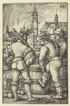 Bewakers bij de kruitvaten, Hans Sebald Beham, 1510