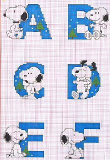 Snoopy cross stitch alphabet