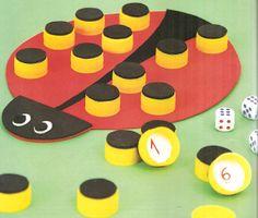 """De Colher Pra Colher: Joguinhos com Material Reciclado - """"Jogo da Joaninha"""" - játék kupakokból"""