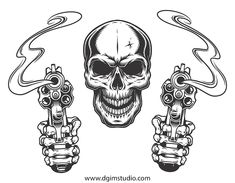 Find Skull Aiming Two Revolvers Vector Illustration stock images in HD and millions of other royalty-free stock photos, illustrations and vectors in the Shutterstock collection. Skull Stencil, Tattoo Stencils, Revolver Tattoo, Pistol Tattoos, Skull Tattoos, Ship Tattoos, Bear Tattoos, Ankle Tattoos, Clown Tattoo