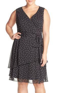 Tahari Dot Print Sleeveless Tiered Chiffon Dress (Plus Size)