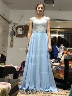 17ae924742f A-Line Princess Sleeveless Sheer Neck Applique Chiffon Sweep Brush Train  Dresses - Prom Dresses - Hebeos Online