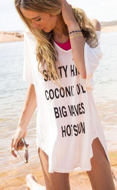 Letter Print Short Sleeves Casual Cover Up T-shirt