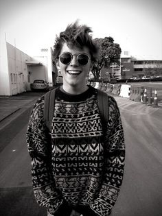 cool jumper, and glasses