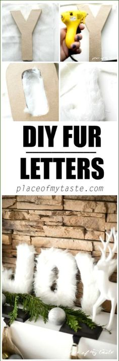 Fur JOY letters are beautiful for Christmas. Great DIY Christmas crafts idea to make with your kids at home.