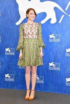 Emma Stone Embroidered Dress - Emma Stone went for retro cuteness in a green and…