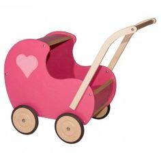 Zojuist Poppenwagen Van Dijk Toys Hout Dicht Hart Roze gekocht: