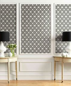 Nouveau Trellis Wallpaper in Dove from the Nouveau Collection by Wallq Dining Room Wallpaper, Framed Wallpaper, Dining Room Wall Decor, Wallpaper Panels, Formal Living Room Wallpaper, Wallpaper For Hallways, Wallpaper For Powder Room, Wallpaper In Kitchen, Living Room Wallpaper Accent Wall
