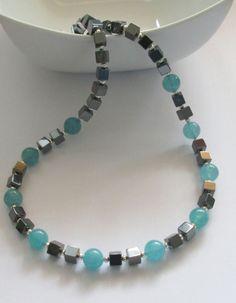 Blue Quartz Necklace with Hematite Cubes, Gemstone Necklace, Beaded Necklace,Hematite, Blue Gemstones, Handmade Jewellery, Etsy UK by AwfyBrawJewellery on Etsy