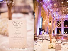 Table menu design // Tree branch centerpiece with white hydrangeas // Wedding at One King West // Vera Wang Wedding Dress // Toronto Weddings // Photo from http://amycheshire.com/ //