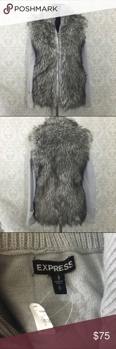 🎉sale🎉Faux) fur sweater jacket Beautiful gray/silver/black faux fur blend sweater jacket that has never been worn (partial tag still attached). Faux fur looks like a vest while the interior and arms are sweater, has a full front zipper and pockets super warm and cozy and chic! Make an offer, bundle and save! Express Sweaters