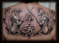 upperback anubis egyptian gods tattoo