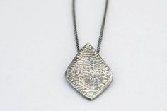 Oxidixed Hamered Sterling Silver Diamond Shaped Pendant