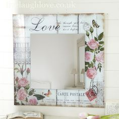 decopodge Carte Postale Square MIRROR -Love Shop for beautiful shabby chic accessories, vintage furnishings and country accessories for the home. Decoupage Vintage, Decoupage Art, Decoupage Ideas, Shabby Chic Crafts, Vintage Shabby Chic, Shabby Chic Decor, Wood Crafts, Diy And Crafts, Shabby Chic Accessories