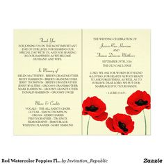"""Red Watercolor Poppies Floral Wedding Collection 8.5"""" X 11"""" Flyer"""