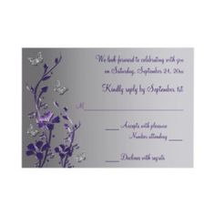 Purple and silver wedding invitation Joey you like this? Purple And Silver Wedding, Plum Wedding, Dream Wedding, Wedding Stuff, Silver Wedding Invitations, Wedding Stationary, When I Get Married, Wedding Inspiration, Wedding Ideas