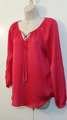 DANA BUCHMAN Fuschia Pink Tasseled Tunic Blouse Top Size Small