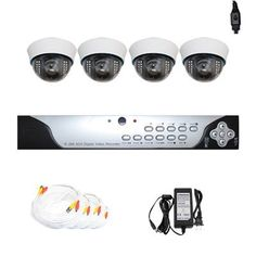 """Complete 4 Channel CCTV DVR (1T HDD) Surveillance Security System Package with (4) Pack of 700TVL 1/3"""" Sony CCD 2.8~12mm Varifocal Lens Indoor Security Camera by Gw. $705.00. Package includes: GW9104V - 4 channel network DVR with 1T HD; 4 x GW727WD -1/3"""" Exview HAD CCD II with Effio-E DSP Devices Camera; 1 x GW125CAW: 125 feet pre-made cable BNC; 1 x GW100CAW: 100 feet pre-made cable BNC; 2 x GW60CAW: 60 feet pre-made cable BNC; 1 x GW12V7A: 12V7A Power Supply for Se..."""