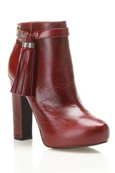 Leather Heel Booties In Oxblood.