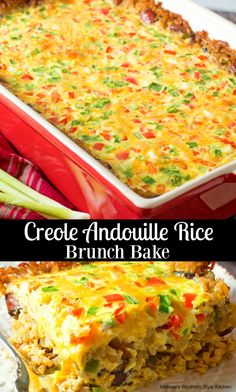 New Orleans inspired Creole Andouille Rice Brunch Bake features a base of andouille-laced rice in place of pastry for an irresisable brunch twist. Louisiana Recipes, Cajun Recipes, Retro Recipes, Cooking Recipes, Cajun Food, Sausage Recipes, Rice Recipes, Southern Breakfast, Eat Breakfast