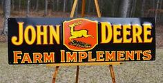 "OLD STYLE LRG 42"" JOHN DEERE FARM IMPLEMENTS DAIRY EMBOSSED SIGN USA MADE SUPER!"