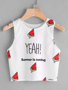 Watermelon And Slogan Print Tank Top #Summer #Tank #Top